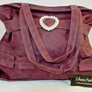 Women Handbag Shoulder Bag with Heart Purple L
